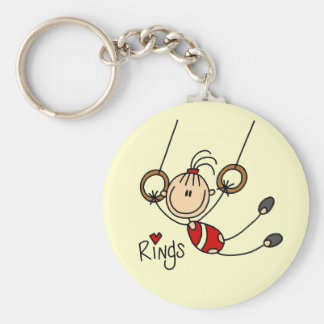 Stick figure girl on Rings Tshirts and Gifts Basic Round Button Key Ring