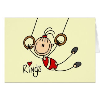 Stick figure girl on Rings Tshirts and Gifts Greeting Card