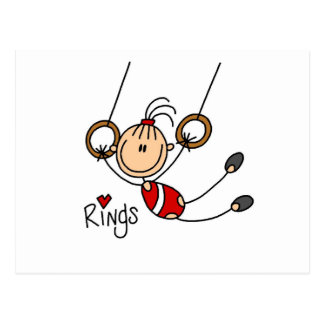 Stick figure girl on Rings Tshirts and Gifts Postcard
