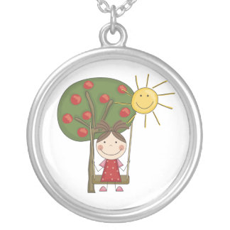 Stick Figure Girl on Swing Necklace