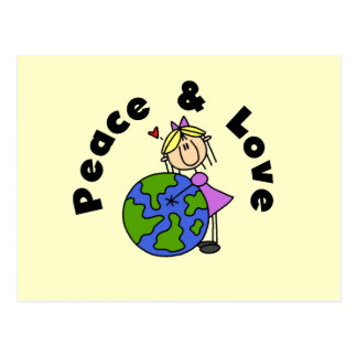 Stick Figure Girl Peace and Love T-shirts and Gift Postcard