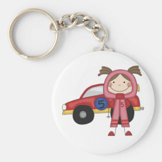 Stick  Figure Girl Race Car Driver Tshirts Basic Round Button Key Ring