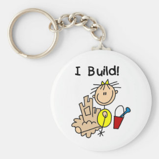 Stick Figure Girl Sand Castle Basic Round Button Key Ring