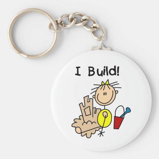 Stick Figure Girl Sand Castle Basic Round Button Key Ring