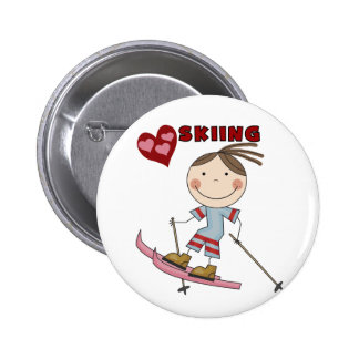 Stick Figure  Girl Skier Tshirts and Gifts 6 Cm Round Badge