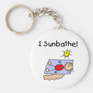 Stick Figure Girl Sunbather Basic Round Button Key Ring