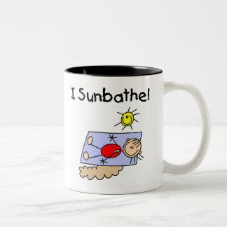 Stick Figure Girl Sunbather Coffee Mugs