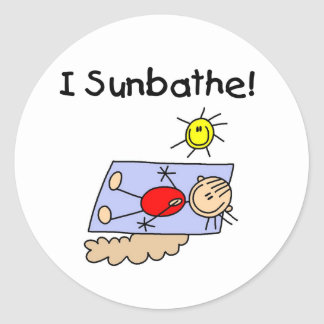 Stick Figure Girl Sunbather Classic Round Sticker