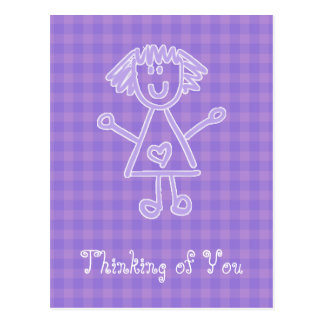 Stick Figure Girl | Thinking Of You Postcard