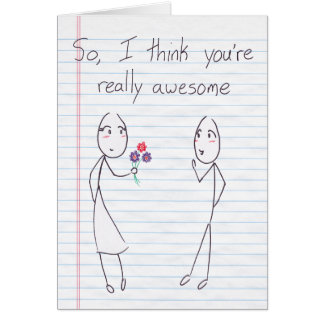 Stick Figure Girl to Boy Valentine Card