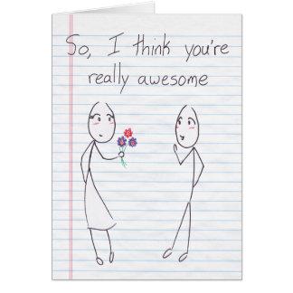 Stick Figure Girl to Boy Valentine Greeting Card