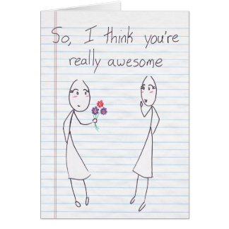 Stick Figure Girl to Girl Valentine Greeting Card