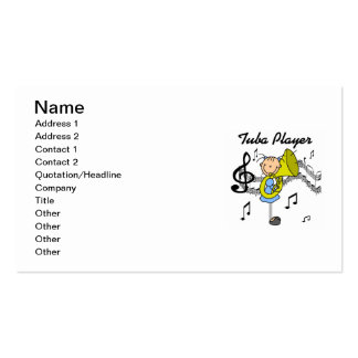 Stick Figure Girl Tuba Player T-shirts and GIfts Business Cards