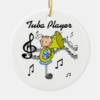 Stick Figure Girl Tuba Player T-shirts and GIfts Christmas Ornament