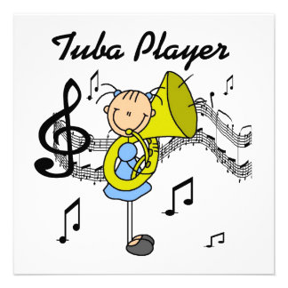 Stick Figure Girl Tuba Player T-shirts and GIfts Custom Invite
