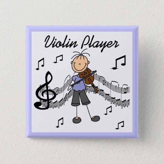 Stick Figure Girl Violin Player T-shirts and Gifts 15 Cm Square Badge