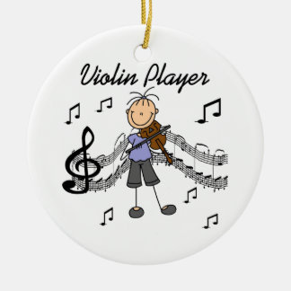 Stick Figure Girl Violin Player T-shirts and Gifts Christmas Ornament
