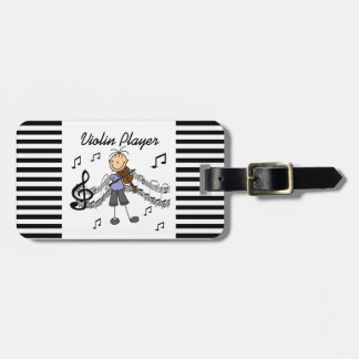 Stick Figure Girl Violin Player T-shirts and Gifts Luggage Tag