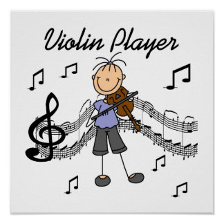 Stick Figure Girl Violin Player T-shirts and Gifts Poster