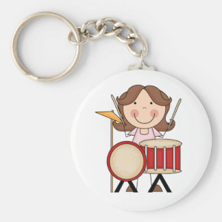 Stick Figure Girl With Drums Keychain