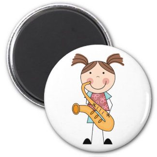 Stick Figure Girl With Saxophone 6 Cm Round Magnet