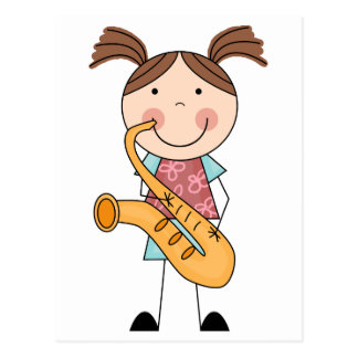 Stick Figure Girl With Saxophone Post Card