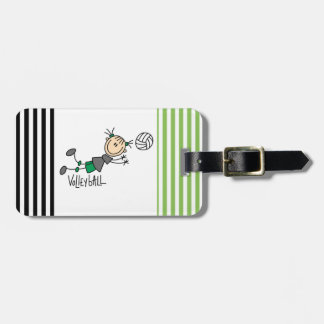 Stick Figure Girls Volleyball T-shirts and Gifts Bag Tag