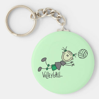 Stick Figure Girls Volleyball T-shirts and Gifts Basic Round Button Key Ring