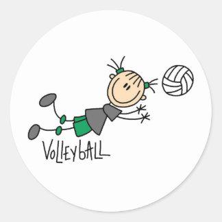 Stick Figure Girls Volleyball T-shirts and Gifts Classic Round Sticker