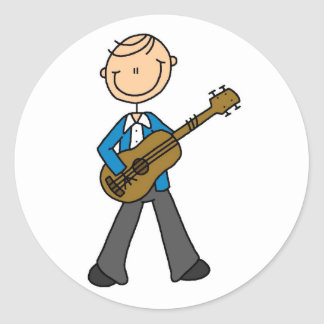 Stick Figure Guitar Player Tshirts and Gifts Round Sticker