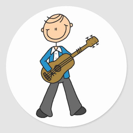 Stick Figure Guitar Player Tshirts and Gifts Round
