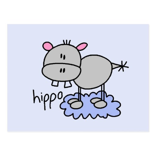 Stick Figure Hippo T-shirts and Gifts Postcards