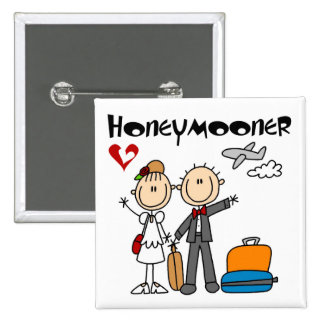 Stick Figure Honeymooner T-shirts and Gifts 15 Cm Square Badge