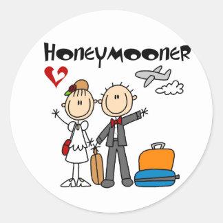 Stick Figure Honeymooner T-shirts and Gifts Round Sticker