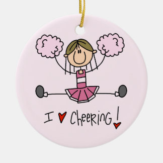 Stick Figure I Love Cheering T-shirts and Gifts Round Ceramic Decoration