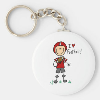Stick Figure I Love Football T-shirts and Gifts Basic Round Button Key Ring