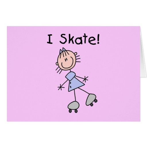 Stick Figure I Skate Tshirts and Gifts Greeting Card