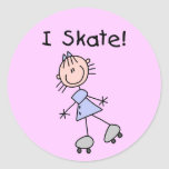 Stick Figure I Skate Tshirts and Gifts Round Stickers