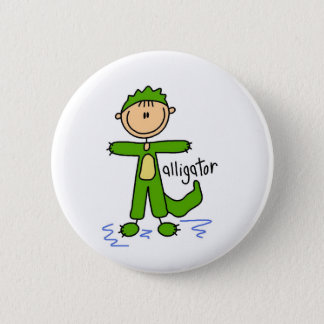 Stick Figure In Alligator Suit Button