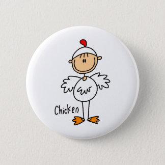 Stick Figure In Chicken Suit Button