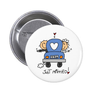 Stick Figure Just Married 6 Cm Round Badge