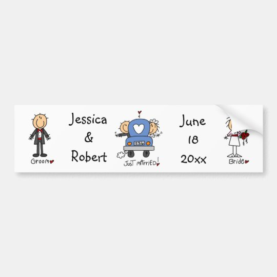 Stick Figure Just Married Bumper Sticker