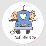 Stick Figure Just Married Round Stickers