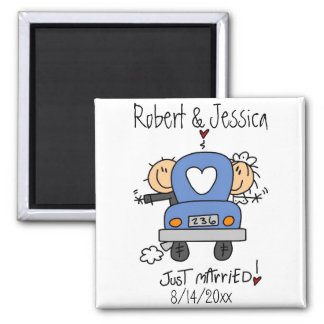 Stick Figure Just Married Square Magnet