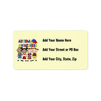 Stick Figure Kids Autism Awareness Address Label