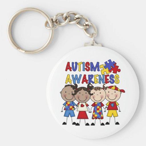 Stick Figure Kids Autism Awareness Key Chain