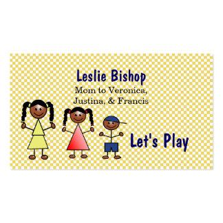 Stick Figure Kids Custom Mommy Card Business Cards