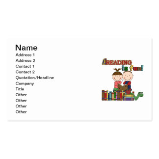 Stick Figure Kids Reading is Fun Pack Of Standard Business Cards