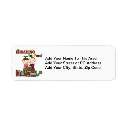 Stick Figure Kids Reading is Fun Return Address Label