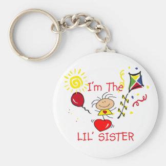 Stick Figure Little Sister Girl Keychain
